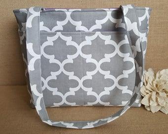 Grey Tote , Double Strap Pocketbook, Women Shoulder Bag, Purse with 4 Pockets, Shoulder Tote