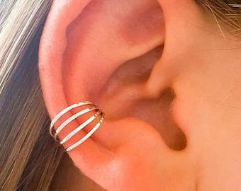 Silver Ear Cuff, 4 Strand Non Pierced Hammered Ear Cuff, 925 Sterling Silver