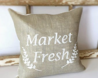 Market Fresh Burlap Pillow Cover| Burlap pillows| Burlap pillow cover| Burlap decor| Farmhouse pillows| Farmhouse decor| Rustic pillow|
