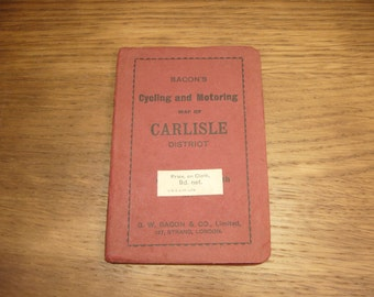 Vintage 1920s Bacon's cycling and motoring map of Carlisle and the Lake District