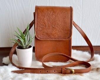 Acorn & Leaf Tooled Leather Crossbody Bag