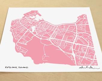 Reykjavik Map, Hand-Drawn Map Print of Reykjavik Iceland