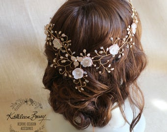 Bridal Hair Crown Wreath Vine in Gold & Blush Pink tones - Wedding Accessories STYLE:Gazelle