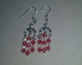 Artisan Handmade Red Light Pink Glass Crystal Chandelier Style Dangle Earrings Jewelry Gift Fashion Accessory Sparkle Luxury Fancy Glam