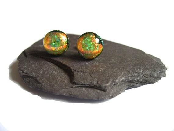 Dichroic Stud style Earrings -  Fused glass earrings, golden orange, green, metallic jewellery ER114 shimmer domed studs, post earrings 1cm
