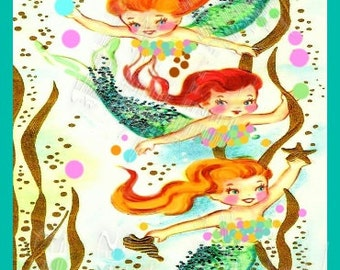 Fabric Baby Mermaids Birthday Card Vintage Cotton Print Merbabies
