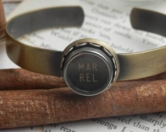 Vintage Typewriter Key Bracelet...Upcycled Typewriter Key Jewelry...Vintage Margin Release Cuff