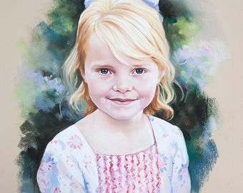 Pastel Portrait of young girl, portrait commission from photography.