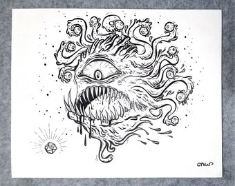 "Original Ink Drawing ""Beholder"""
