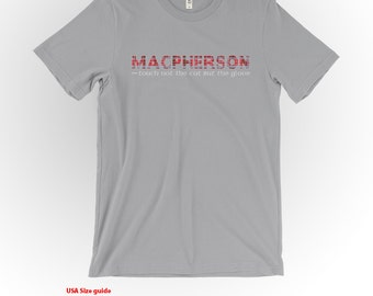 MacPherson Clan Tartan and Motto T-Shirt Silver Shirt Scottish Clan Apparel