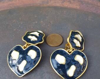 Clip On Vintage Enamel Earrings