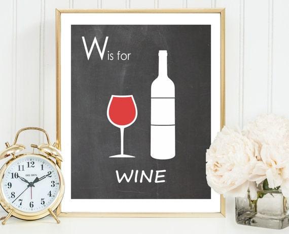 Red wine art print kitchen wine decor wine gift chalkboard for Wine chalkboard art