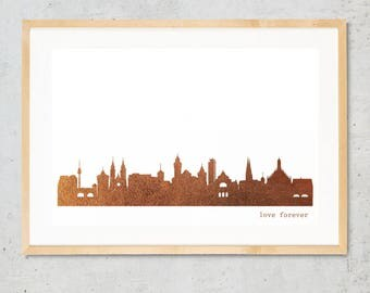 NÜRNBERG city poster, NÜRNBERG skyline print, copper art poster, NÜRNBERG for Newbies, Nürnberg Gift, Home Decor, Copper foil city art print