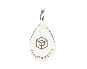 Sterling Silver Teardrop Jewelry Tag, Laser Engraved Logo on Teardrop Tags Sequins, 7x11mm, 19 Gauge, Pkg of 100 PCS, F14Q.SI06.P100.C