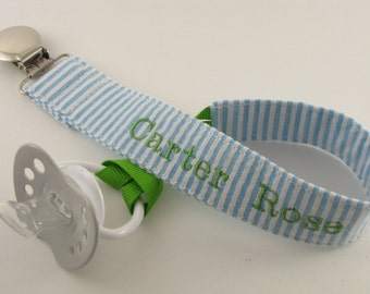 Personalized Pacifier Clip, Blue Paci Clip, Baby Pacifier Clip, Baby Shower Gift