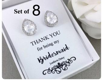 Bridesmaid Earrings Set of 8, Stud Earrings, Cubic Zirconia Stud Earrings, Bridal Earrings, Bridesmaid Gift, Bridesmaids Sterling Silver