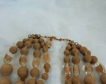 German Beige and Givre Glass 4 Strand NeckLace