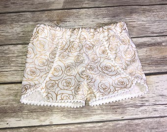 Disney Shorts, Roses Shorts, Belle Inspired Shorts, Gold