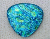 Lg 39x42mm Multi Layered Dichroic Glass Cabochons - Galaxy of Gold/Blue/Teal Lava Sparkle Special Color - TR952 // Handmade