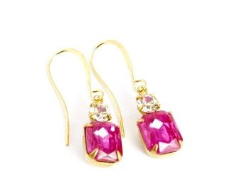 20% OFF Sale Vintage Rose Pink Glass Rhinestone Earrings, Pink Wedding Earrings, Bridesmaids Gift, Gift for Her
