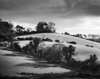 Ireland Print - Irish Landscape Black and White Photograph - County Down Hills - Northern Ireland