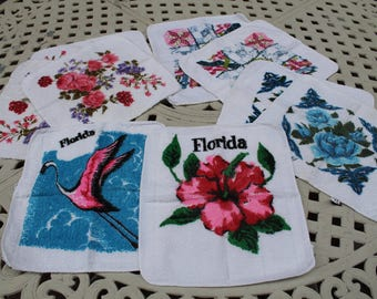 Lot of Vintage Cotton Wash Cloth, Florida Wash Cloth, Flamingo, Flower Wash Rags, Wash Clothes, Flower Power, Pink, Blue, Yellow, Red