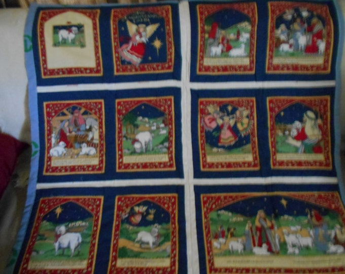 The Christmas Lamb, Vintage Wall Hanging, Quilted Wall Hanging, Christmas Gift