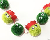Christmas Sprout, Pom Pom Garland, Festive Wall Hanging, Brussels Sprouts, Christmas Decoration, Christmas Sprouts,Christmas Garland,Sprouts