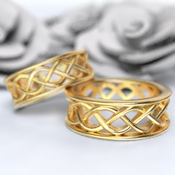 Celtic Wedding Ring Set With 3 Cord Braided Knotwork Encased in Rails Design in 10K 14K 18K Gold, Palladium or Platinum Made Your Size 271