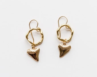 Gold Filled Shark Tooth Earrings
