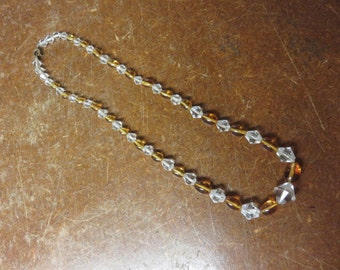 Vintage Amber & Clear Glass Choker Necklace