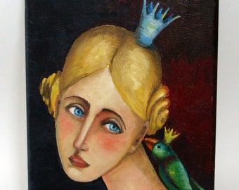 "Original oil painting on Canvas, Original Painting ""The Princess and the Bird"""