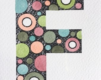 Bespoke Handprinted & Handpainted Spotty Initial Cards, ideal for framing as a gift
