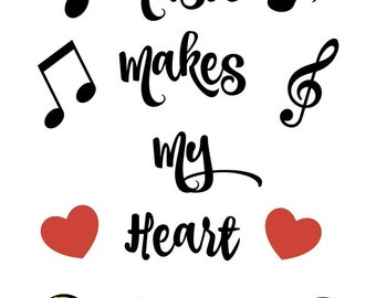 Instant Download / Music Printable / Music Makes My Heart Happy / 8x10 Digital Download / Digital Art / Home Decor / Wall Art / Printable