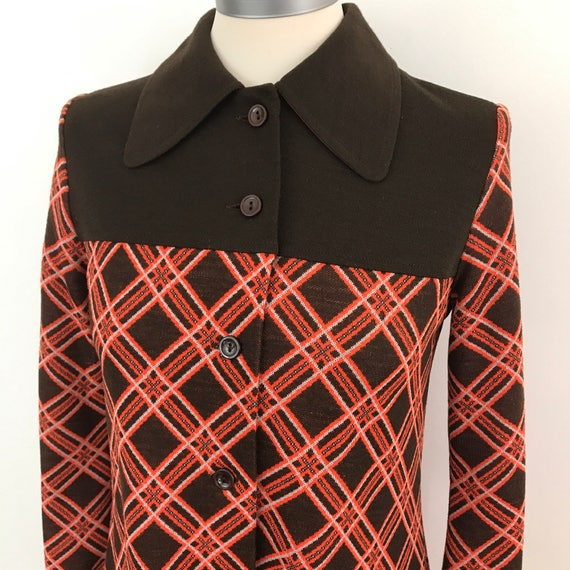 1960s Mod dress orange check crimplene vintage coat dress mini UK 8 scooter girl style long sleeves 60s St Michael