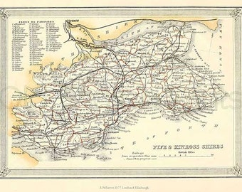 Fife and Kinross Shires c.1857 - Antique Scottish County Map of Fife and Kinross - 8 x 11 ins PRINT - FREE P&P UK