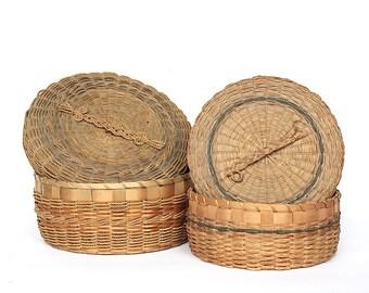 Antique Penobscot Baskets - Native American Baskets - Vintage Baskets - Antique Baskets with Lids - Decorative Basket Set - Storage Baskets