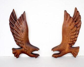 Wooden Eagle Plaques - Eagle Wall Decor - Eagle Wall Plaques - Wood Eagle Wall Art - Wood Eagle Carving - Eagle Decor - Vintage Wood Decor