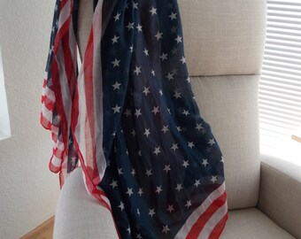 AMERICANA FABRIC . Red . White . Blue . Flag . Voile . Finished Hem . Scarf .