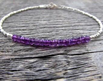 February Birthstone Bracelet, Amethyst Bracelet, Amethyst Jewelry, Amethyst Gemstone Bracelet, Stack Bracelet, Birthstone Jewelry, Mom Gift