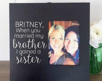 Sister In Law Frame, Sister In Law Birthday Gift, Sister in law Bridesmaid, Sister in law Present, Wedding Gift for Sister In Law