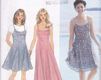 Simplicity 9682 Vintage Pattern Womens Princess Seam Summer Dress or Jumper in 3 Variations SIze 10,12,14 UNCUT