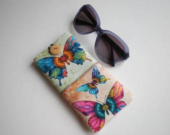 Glasses case, Sunglasses sleeve, Soft eyeglasses case, Case for sunglasses, Quilted eyeglass case, glasses sleeve, butterfly sleeve