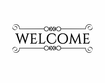 Home window decal vinyldoor welcome sign house front door fancy