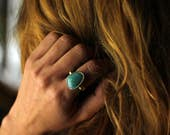 Two last pieces - Amazonite stone antique solid sterling silver witch ring - made to order
