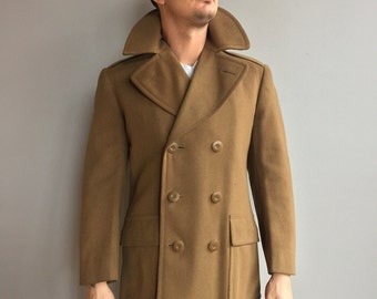 WW2 Army Officers Regulation Overcoat/Peacoat Size 36 R Dated 1944 Olive Drab Wool