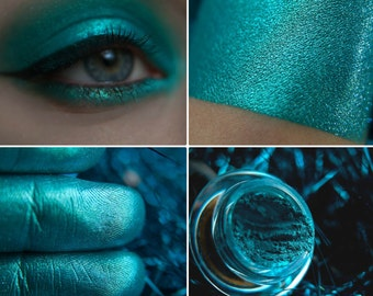 Eyeshadow: The Madness of the Brave - Mermaid. Bright turquoise metallic eyeshadow by SIGIL inspired.