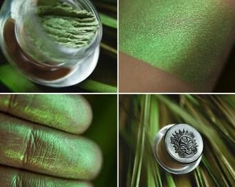 Eyeshadow: Fern Awaker - Druidess. Bright green satin eyeshadow by SIGIL inspired.