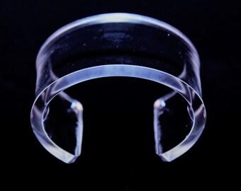 "SALE!!!SALE!!!!Clear unisex Transparent Lucite Cuff bracelet.One Size! ""Diameter inside 67mmFree USA shipping!"