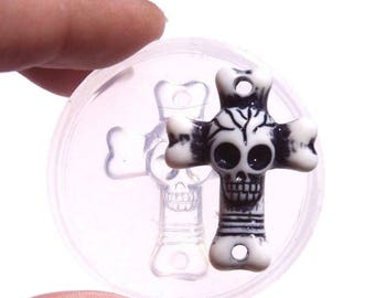 Clear-silicone skull mold.Good for stud earrings,bracelet,Round flatback Scrapbooking for phone/wedding/craft.31x23mm.Free USA shipp.(Z-05)